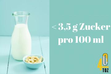 Milch und Milchersatzprodukte mit wenig Zucker